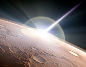 Comet colliding with Mars,illustration