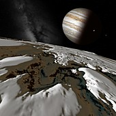 Jupiter from Europa,illustration