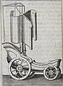 Wheeled sail boat,illustration