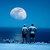Men watching the Moon