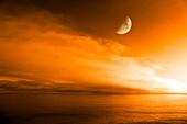 Moon over the ocean