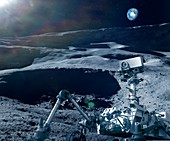 Robot research on the Moon,illustration