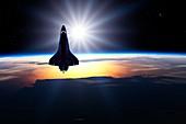 Space shuttle in orbit,illustration