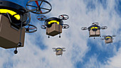 Delivery drones,illustration