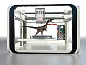 3D printed dinosaur,conceptual image