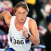 Senior British masters athlete running