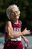Joyful senior female athlete