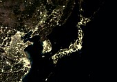 Japan and Korean Peninsula at night