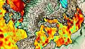 Sea level anomalies,satellite image