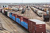 Freight trains at a rail yard