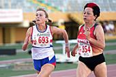 Senior British athlete beats German rival