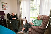 Elderly couple in a care home