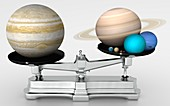 Jupiter mass compared with other planets