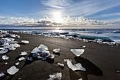 Iceberg scattered on beach
