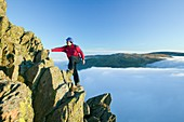 A climber on Red Screes