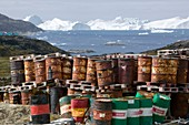 waste oil barrels on the tundra