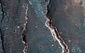 Fluvial features on Mars,satellite image