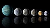 Kepler exoplanets and Earth,illustration