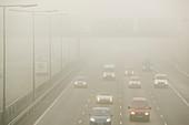 Driving in fog on the M1 motorway,UK