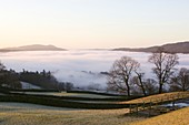 Valley mist over Windermere at dawn,UK