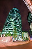The Swiss Re Tower at night,London,UK