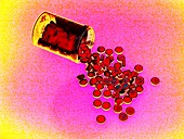 Bottle of pills,coloured image