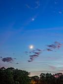 Moon,Venus and Jupiter at dusk