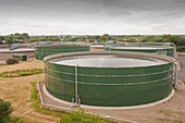 Wastewater tanks at sewage plant