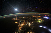 Red sprite over Mexico,ISS photograph