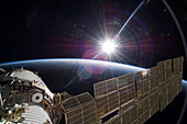 Sun and the ISS,astronaut photograph
