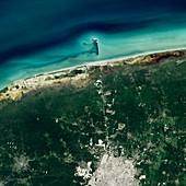 Progreso pier,Mexico,satellite image