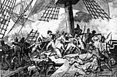 Nelson's death at Trafalgar,illustration
