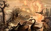 Prehistoric world,19th C illustration