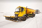 Snow plough on the road,UK