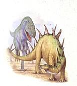Tyrannosaur chasing Chialingosaurus