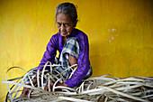 Woman weaving,Indonesia
