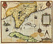 Map of Florida and Cuba,1591
