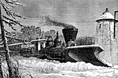 Snow clearing train,19th C illustration