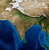 India,topographic and bathymetric map