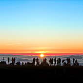 Sunset tourism on Haleakala,Hawaii