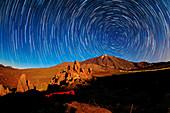 Star trails over Mount Teide,Tenerife