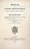Champollion book on hieroglyphics,1824