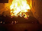 Inside waste incineration kiln