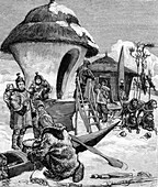 19th century Eskimo village,illustration