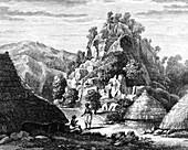 Timor village,19th Century illustration