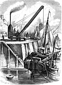 19th Century steam crane,illustration