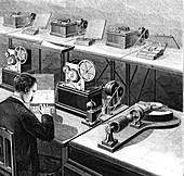 Baudot telegraph system,illustration