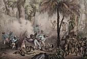 1836 Rugendas Brazil Indian Masacre
