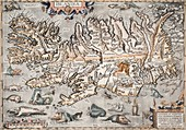 1603 Ortelius Iceland Monster Map