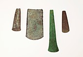 Four simple Copper age flat axe celts